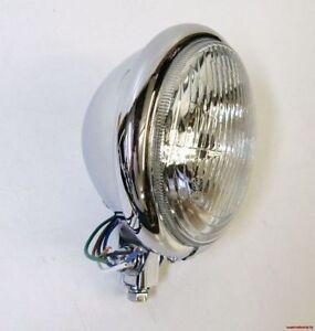 CHROME-BATES-STYLE-HEADLIGHT-LAMP-5-1-2-034-FOR-HARLEY-SOFTAIL-BOBBER-BOTTOM-MOUNT