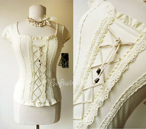 NEW-Cream-Victorian-Style-Lace-Up-Lace-Trim-Peasant-BOHO-Knit-Shirt-Top-S-M-L-XL