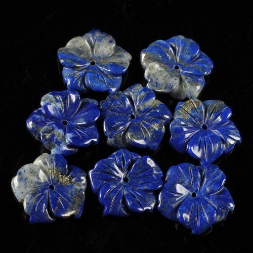 g3700 8 pcs 18mm of carved lapis flower beads 0.7""