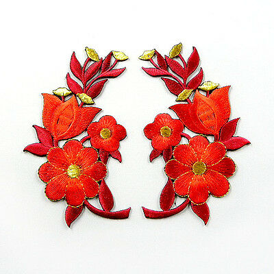 I0614 x1Pair (2pcs) Red Daisy Flower Sew or Iron On Patch Embroidered Bouquet