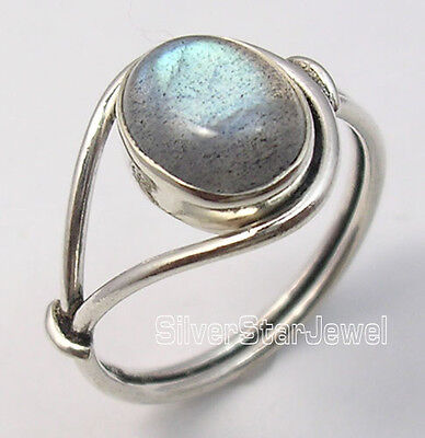 925 Sterling Silver OVAL BLUE FIRE LABRADORITE BESTSELLER Ring Any Size HANDMADE
