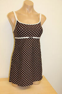 NWT-Nautica-Swimsuit-1-one-piece-Brown-Attached-Dress