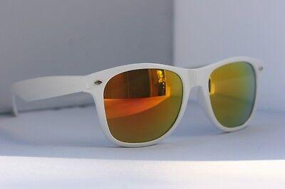 White mirror wayfarer fire lens retro 80's vintage SUNGLASSES wayfarer shades
