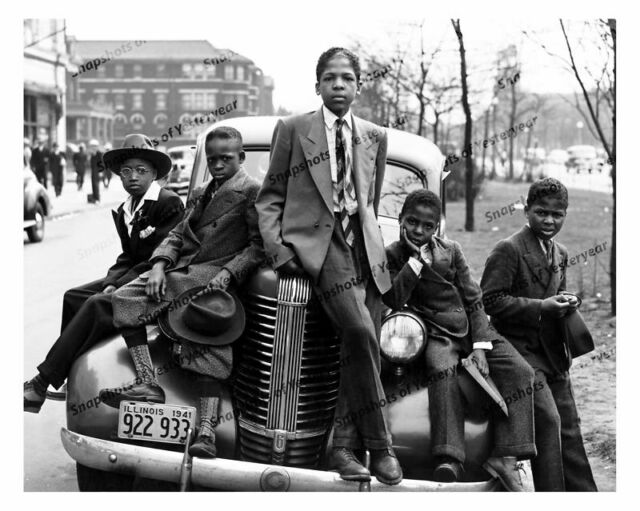Vintage photo-African American boys on old car (1938 Pontiac)-8x10 in.