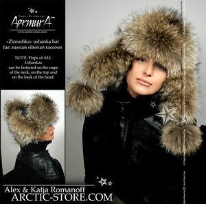 ARKTIKA-Ushanka-Womens-Finn-Raccoon-Russian-Fur-Hat-Trapper-Trooper-Poms