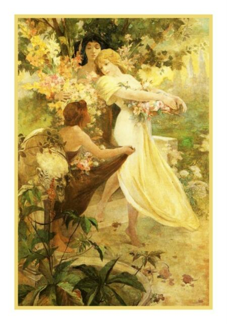 Art Nouveau Alphonse Mucha's Flowers Counted Cross Stitch Chart Pattern