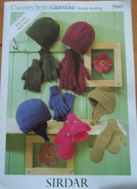 Knitting Pattern Family Hats Gloves Mittens Sirdar 5840 Ebay