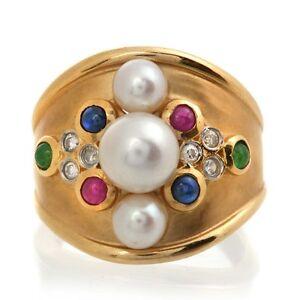 Estate-14k-Gold-Pearl-Ruby-Sapphire-Emerald-Diamond-Ring
