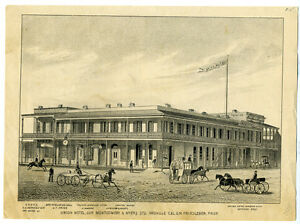 Image Is Loading 1880s Print Of The Union Hotel Oroville Ca