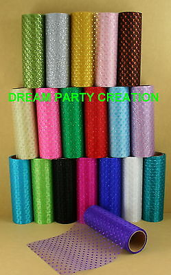 """6"""" Quality SPARKLE Glitter DOTS ORGANZA Sheer Roll 6 Yards CHOOSE COLOR"""