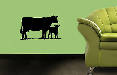 WALL VINYL STICKER  DECALS ART MURAL MOTHER COW WITH HER CHILD N243