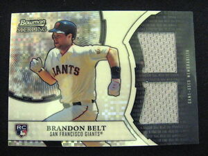 BRANDON BELT REFRACTOR DUAL JERSEY RELIC CARD--2011 BOWMAN STERLING #'D TO 199 !