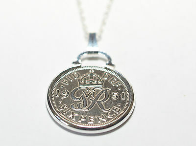 Birthday / Anniversary sixpence coin pendant plus 18inch chain gift 1937 - 1952