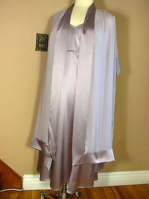 Marina Rinaldi Max Mara Silver Lavender Silk Dress Stole Glam Outfit MR21/12-14W