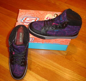 Skechers Women's Duffy High Top Shoes SIZES! NIB Black and Purple