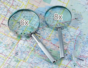 2pc-Glass-Magnifier-6x-3-and-8x-2-5-X-Strong-Reading-Aid-Chrome-handle