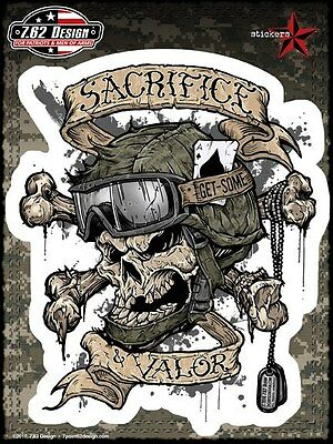 SACRIFICE & VALOR MILITARY VINYL STICKER/DECAL for Car SUV Art by 7.62 Design