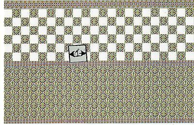 Victorian Wall Tile Sheet  34423  dollhouse 1pc World & Model  heavy card stock
