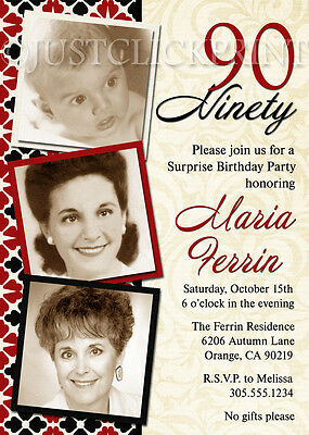 Adult 30th 40th 50th 60th 70th Birthday Party Photo Invitation Any Color