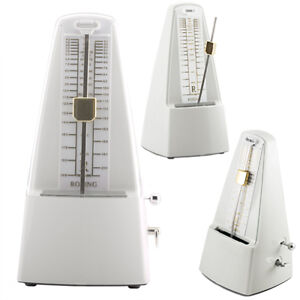 White-Traditional-Wind-Up-Mechanical-Pyramid-Shape-Pendulum-Metronome-MM-SWhite