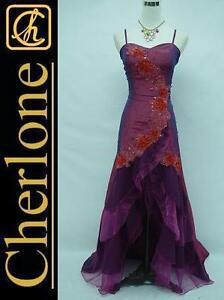 Cherlone-Satin-Dark-Purple-Lace-Prom-Ball-Gown-Wedding-Evening-Dress-Size-8-10