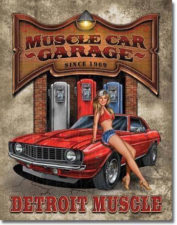MUSCLE CAR GARAGE Detroit Muscle Pin-Up Girl Camaro Tin Sign