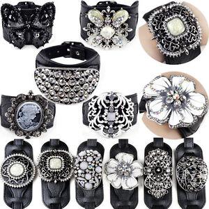 NEW-Luxury-Punk-Crystal-Rhinestone-Buckle-Leather-Bracelet-Wristband-Cuff-Bangle