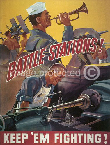 Battle Stations World War II US Navy Vintage WW2 Poster