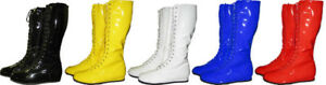 Pro-Wrestling-Costume-Boots-YELLOW-BLACK-RED-WHITE-BLUE