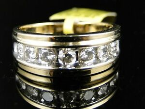 Yellow Gold Mens Gold Genuine 9 MM Diamond Wedding Band Ring 1 0 Ct