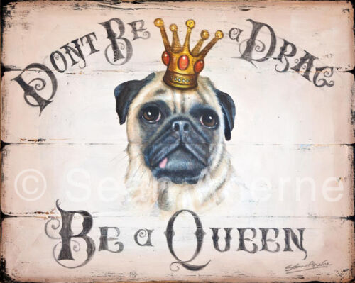 Fawn Pug Dog Wooden Shabby Chic Sign Print Plaque Picture Art for Dog Lovers