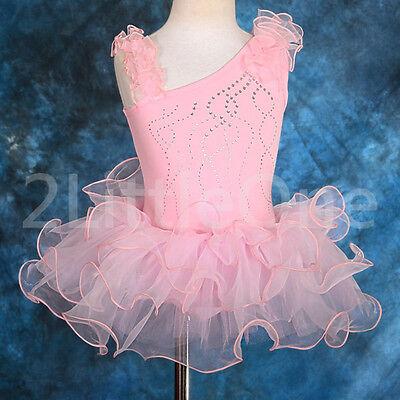 Girl Ballet Tutu Rhinestong Dance Fancy Costume Pageant Dress Size 2T-7#028