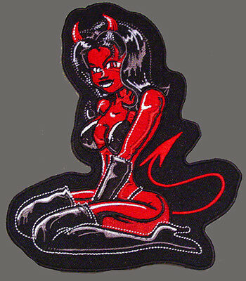DEVIL EMBROIDERED 5 INCH IRON ON BIKER PATCH