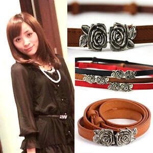 New-Fashion-Woman-039-s-Rose-PU-leather-Thin-Belt-Cute-Skinny-Waistband-Ladies