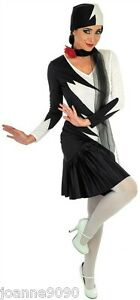 NEW-1920s-MILLIE-FLAPPER-CHARLESTON-COCKTAIL-DRESS-20s-BLACK-WHITE-SCARF-AND-HAT