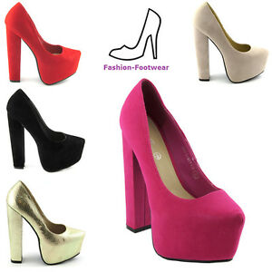 LADIES-HIGH-HEELS-WOMENS-BLOCK-HEEL-PLATFORM-COURT-SHOES-PUMPS-SIZE-3-8