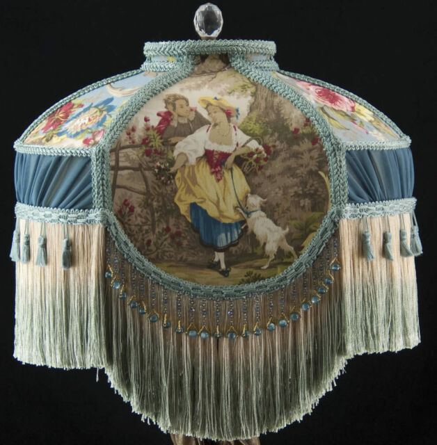 LARGE VICTORIAN LAMP SHADE FRAGONARD BLUE FABRIC AND PLEATING, BLUE BEADS WOW!