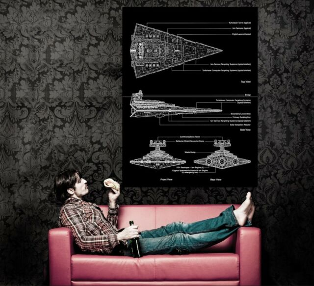 XD8683 Imperial Star Destroyer Blueprint Star Wars Movie HUGE Wall POSTER