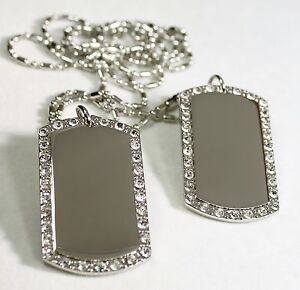 2X SILVER TONE NECKLACE PENDANT DOG TAG CZ ICED OUT CUSTOM MILITARY STYLE