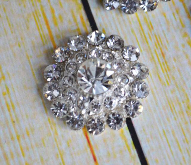 Metal Rhinestone buttons Metal Flatback Embellishment Crystal 5 pcs 24 mm