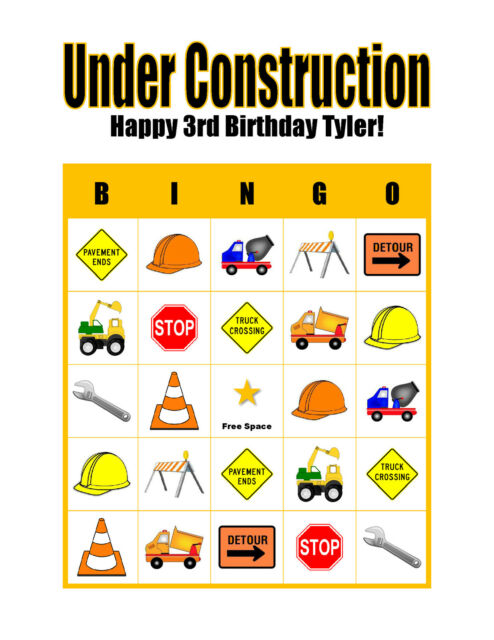 Under Construction Boy's Personalized Birthday Party Game Bingo Cards