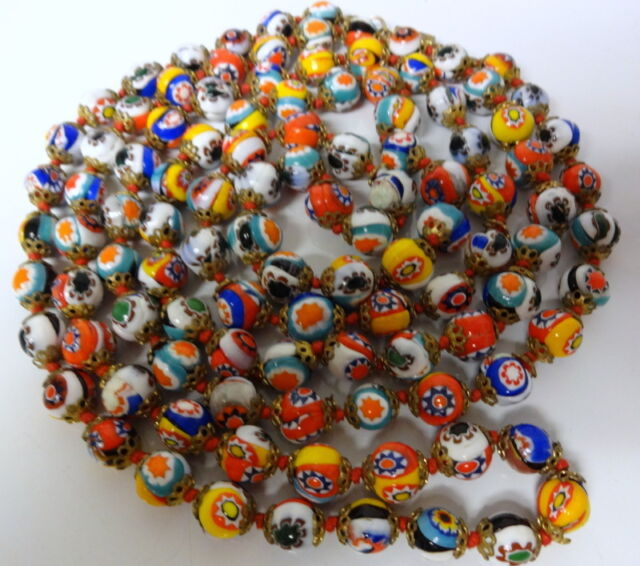 Old VENETIAN Murano Millefiori Art Glass Bead  Opera Necklace Very Long