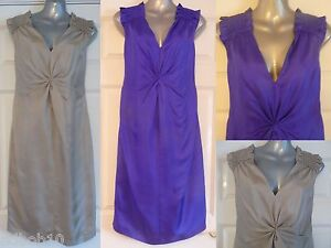 NEW-ladies-silk-dress-by-PIED-A-TERRE-in-cobalt-blue-or-oyster-Sizes-8-10-amp-12