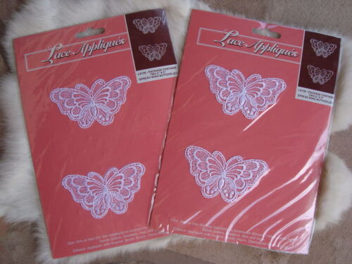 "2 pkg 4 Butterfly Lace Appliques 3.25"" W Glue or Sew On Great on Denims NEW"
