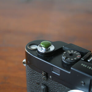 Olive Safari Small Soft Release Button for Leica MP M8 M9 Fuji X100 Nikon Canon