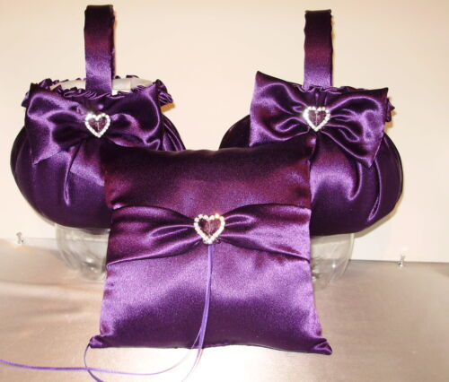 2 Flower Girl Baskets /& 1 Ring Pillow  Your Custom  Colors Crystal Heart Trims