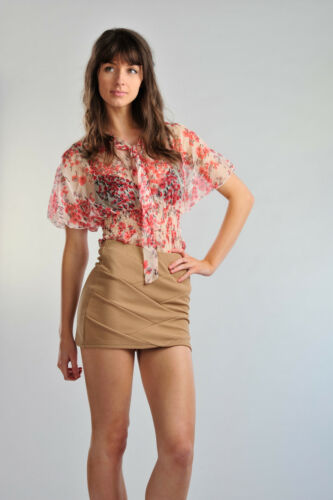 Womens Mini Skirt Diagnol Ribbed in Mustard and Mocha Ladies Brand New Size 8-14