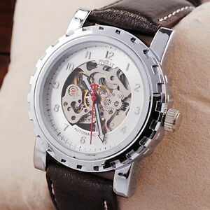Smart-Skeleton-Auto-Mechanical-Wrist-WATCH-Men-Women-Brown-Leather-Elegant-New