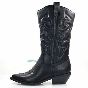 Reno-Black-P-Leather-Women-Cowboy-Cowgirl-Country-Western-Heel-Boots-Soda-shoes