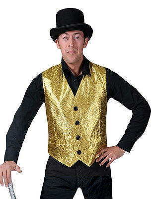 gold SHOW BIZ VEST funny sparkle 70's male jazz mens halloween costume 42 44